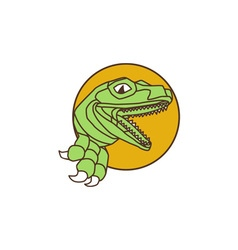Raptor Head Breaking Out Wall Circle Drawing vector image