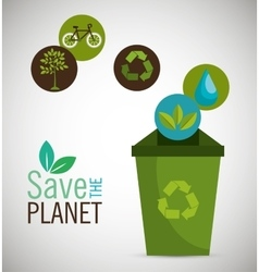Recycle save the planet icon design vector