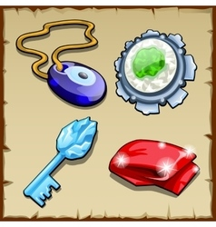 Set of key charms magic stone and capes vector
