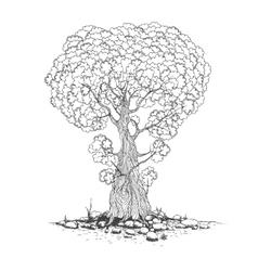 Sketch of one trees vector image