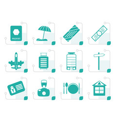Stylized travel holiday and trip icons vector