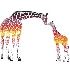 Surrealist Family of giraffes vector image