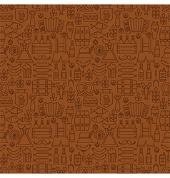 Thin Alcohol Beer Line Oktoberfest Seamless Brown vector image