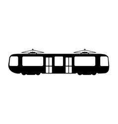 Tram flat icon and logo silhouette vector