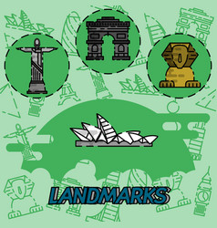 World landmarks flat concept icons vector