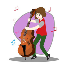Young boy playing double bass happy love music vector