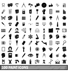 100 paint icons set simple style vector