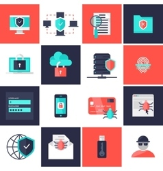 Data protection flat icons set vector