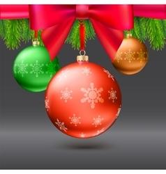 Christmas balls green fir branches bow dark vector