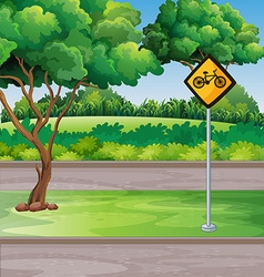 Park scene with bicycle lanes vector