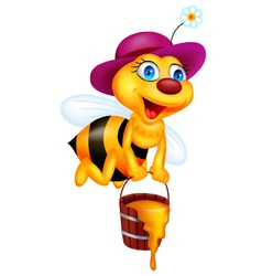 Funny bee cartoon with honey bucket vector
