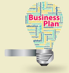 Light bulb with business plan word cloud vector