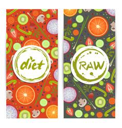Healthy diet vertical flyers set vector