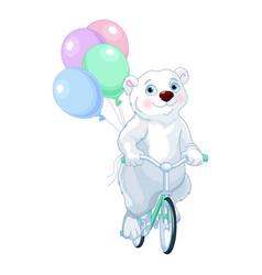 Polar bear riding a bicycle with balloons vector