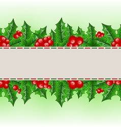 Christmas card with holly berry branches vector