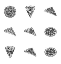 Pizzaslice with meat cheese and other filling vector