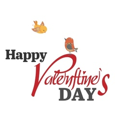 Valentines day type text with two birds vector