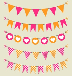 Bunting set pink and orange for scrapbook vector