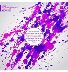 Violet and pink watercolor blots business template vector