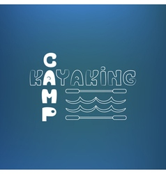 Kayaking camp poster banner on blue like vector