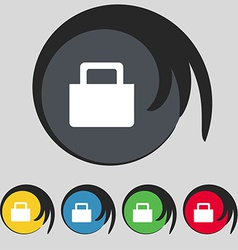 Sale bag icon sign symbol on five colored buttons vector