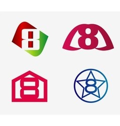 Number eight logo template abstract icon set vector
