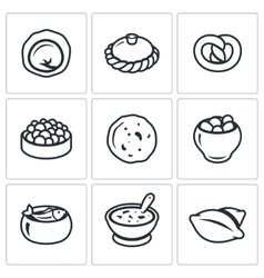 Russian traditional cuisine icons set vector
