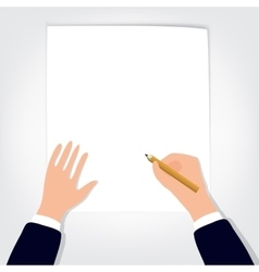 Image of human hands with pencil and eraser on vector image