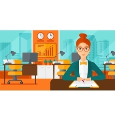 Woman signing contract vector