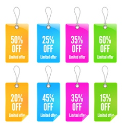 Colorful shopping tags set vector