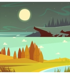 Camping cartoon banners set vector