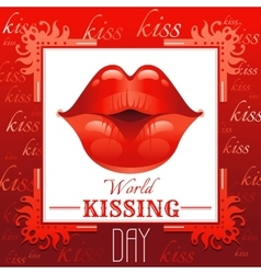 Sexy kissing woman lips with red lipstick on red vector