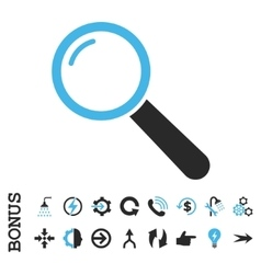 Magnifier flat icon with bonus vector