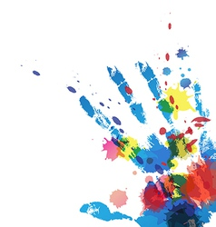Hand print with ink splatter vector