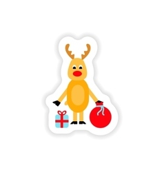 Paper sticker on white background deer gifts vector