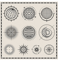 Abstract globe and compass symbol vector