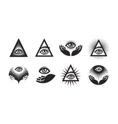 All seeing eye icons set illuminati symbol vector