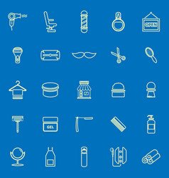 barber line color icons on blue background vector image vector image