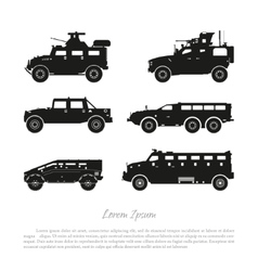 Black silhouette of military cars vector