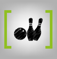 bowling sign black scribble vector image