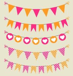 Bunting set pink and orange for scrapbook vector image