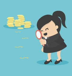 Business woman looking on dollar through magnifyin vector