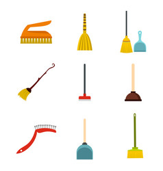 cleaning tools icon set flat style vector image