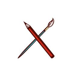 Crossed pencil artist brush retro vector