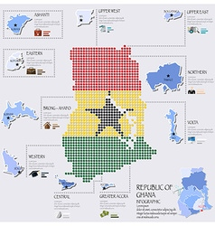 Dot and flag map of ghana infographic design vector