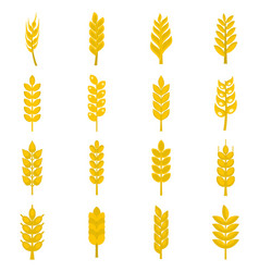 ear corn icons set in flat style vector image vector image