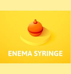 Enema syringe isometric icon isolated on color vector