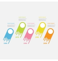Five step timeline infographic round circles vector
