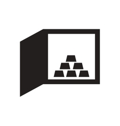 Flat icon in black and white gold bullion safe vector