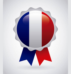 France emblem with french flag colors vector